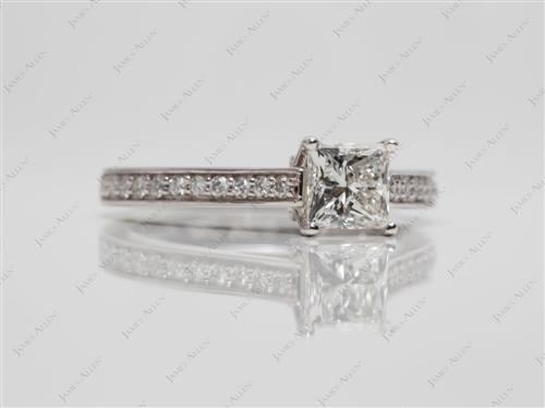 White Gold 0.80 Princess cut Engagement Ring