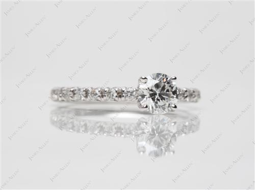White Gold 0.58 Round cut Diamond Ring