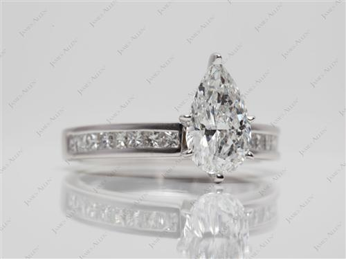 White Gold 1.50 Pear shaped Channel Set Eternity Rings