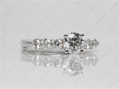 White Gold 0.63 Round cut Engagement Rings Side Stones