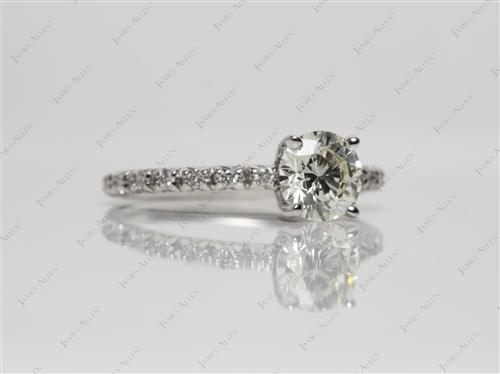 Platinum 0.73 Round cut Pave Diamond Rings