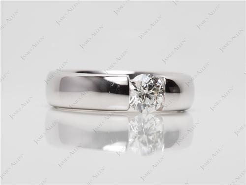 White Gold 0.60 Round cut Diamond Rings
