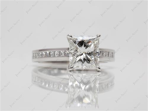 Platinum 2.11 Princess cut Channel Diamond Ring