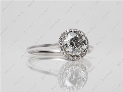 White Gold 1.02 Round cut Pave Ring Settings