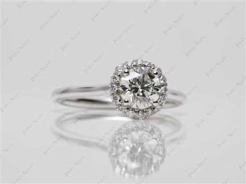 White Gold 0.75 Round cut Pave Ring Setting