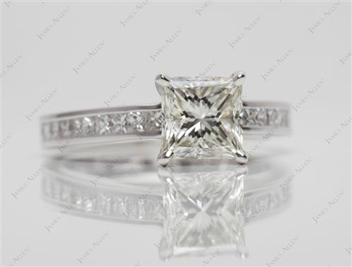White Gold 1.27 Princess cut Channel Set Diamond Engagement Rings