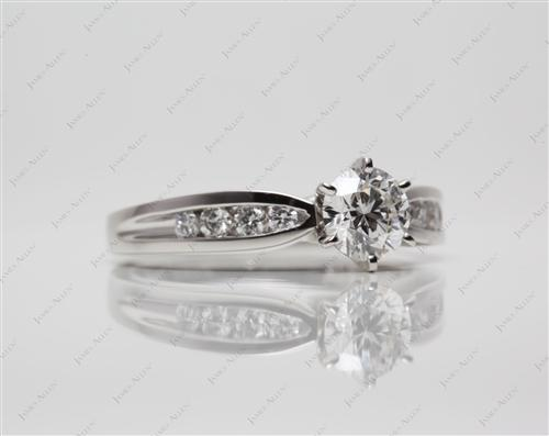 Platinum 0.83 Round cut Channel Set Engagement Rings