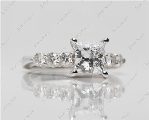 White Gold 1.20 Princess cut Engagement Rings With Sidestones