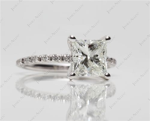 White Gold 1.80 Princess cut Wedding And Engagement Ring Sets