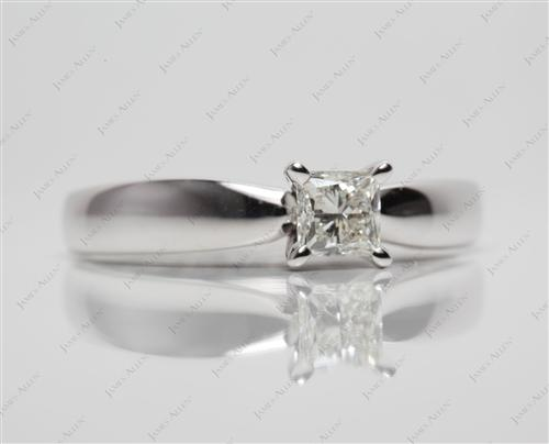 White Gold 0.56 Princess cut Round Solitaire Ring