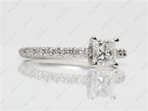 Platinum 0.74 Princess cut Pave Diamond Engagement Rings