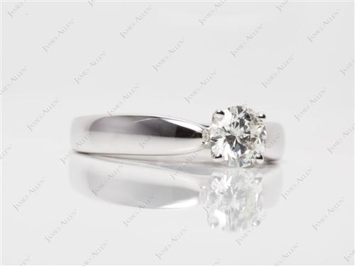 White Gold 0.61 Round cut Solitaire Diamond Ring