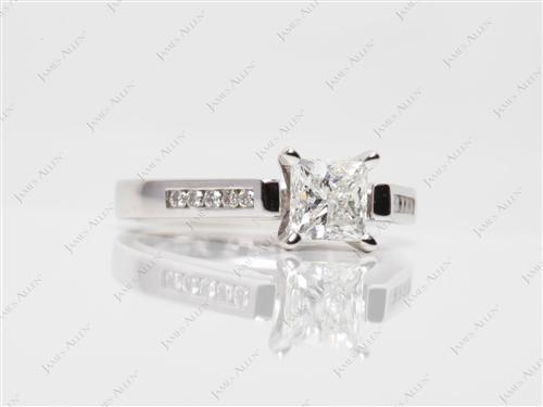 White Gold 0.71 Princess cut Channel Engagement Ring