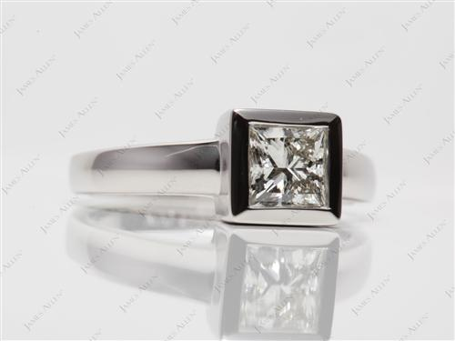 Platinum 1.20 Princess cut Tension Diamond Rings