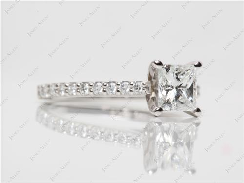Platinum 1.07 Princess cut Diamond Ring
