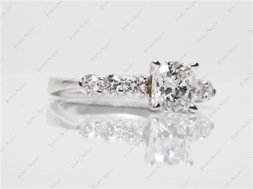 White Gold 0.95 Cushion cut Diamond Rings With Side Stones