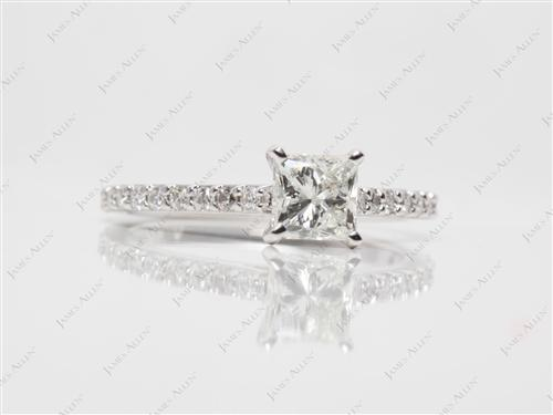 White Gold 0.92 Princess cut Engagement Ring Side Stones