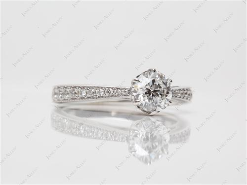 White Gold 0.72 Round cut Pave Rings