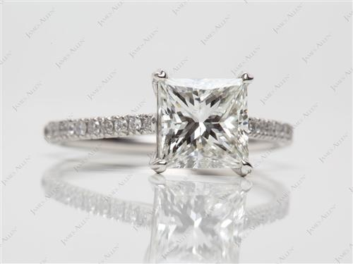 Platinum 1.96 Princess cut Micro Pave Engagement Rings
