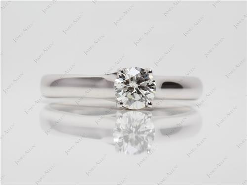 White Gold 0.62 Round cut Engagement Ring
