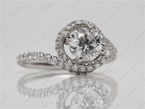 Platinum 0.74 Round cut Micro Pave Engagement Rings