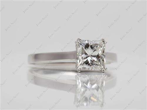 Platinum 1.52 Princess cut Solitaire Ring Settings