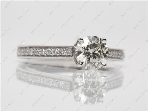 Platinum 0.90 Round cut Diamond Pave Ring