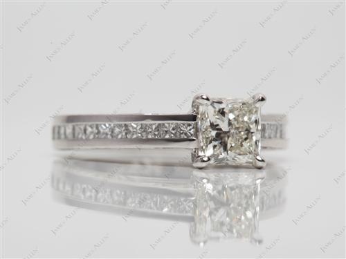 Platinum 0.97 Princess cut Diamond Channel Ring