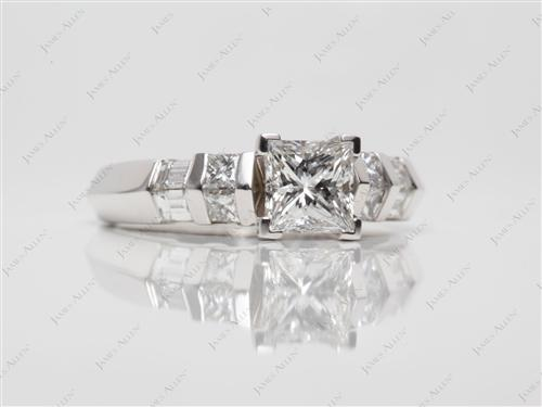 White Gold 0.90 Princess cut Engagement Ring