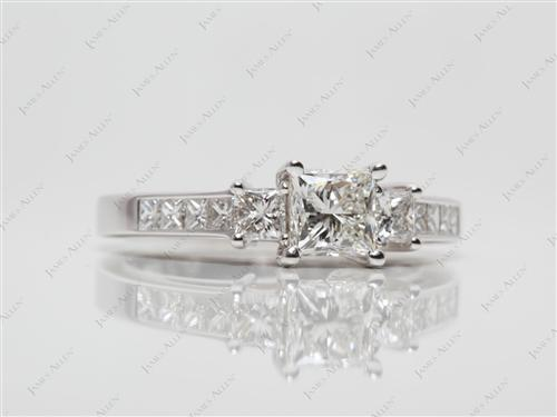 White Gold 0.87 Princess cut Engagement Rings