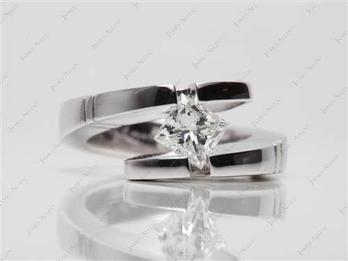 White Gold 0.79 Princess cut Tension Ring Setting