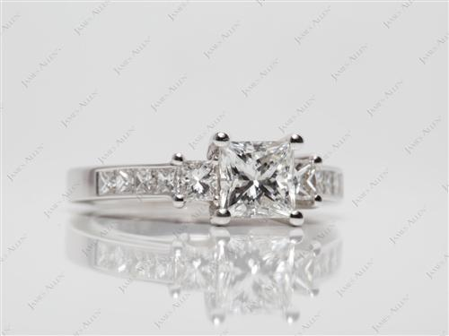 White Gold 1.09 Princess cut Diamond Ring