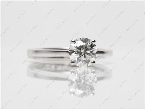Platinum 1.02 Round cut Solitaire Diamond Rings