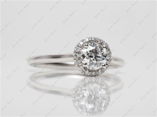 Platinum 0.71 Round cut Pave Ring Mountings