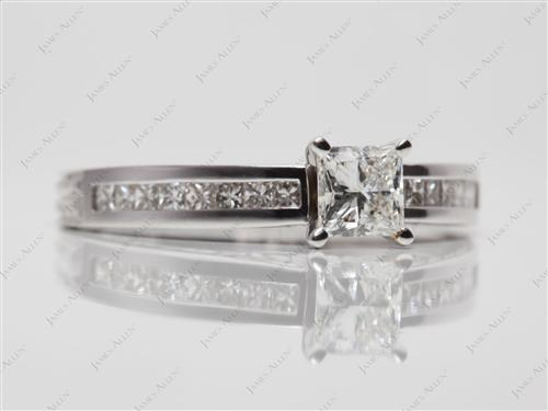 White Gold 0.67 Princess cut Channel Cut Ring