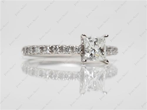 Platinum 0.75 Princess cut Pave Ring