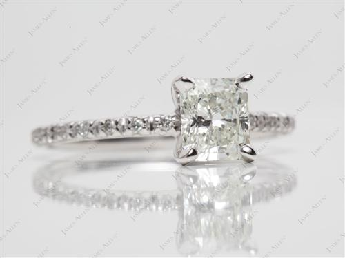 White Gold 1.00 Radiant cut Pave Wedding Sets