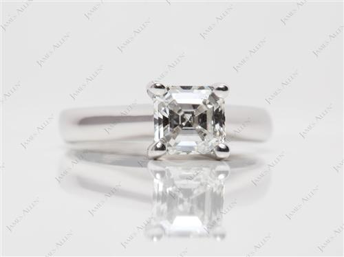 White Gold 1.00 Asscher cut Diamond Solitaire Engagement Ring