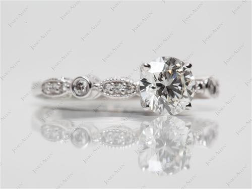 White Gold 1.02 Round cut Side Stone Engagement Rings