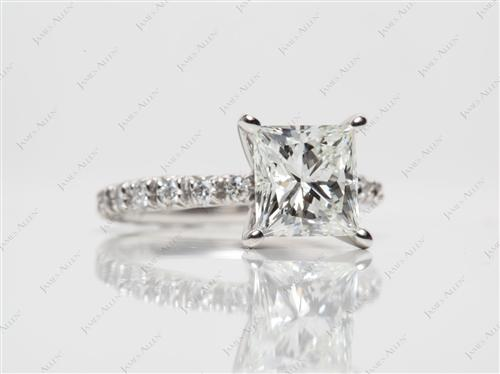 Platinum 2.07 Princess cut Engagement Rings