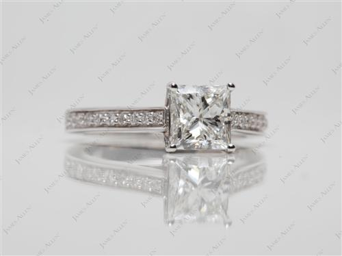 White Gold 1.30 Princess cut Engagement Ring Micro Pave