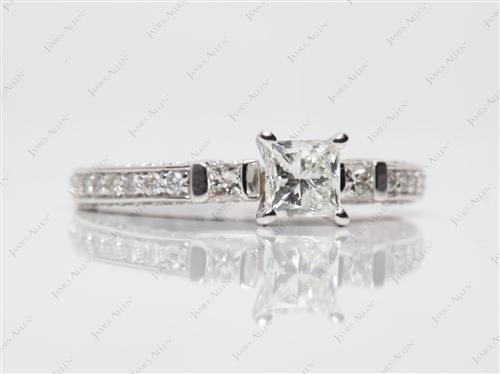 White Gold 0.73 Princess cut Pave Diamond Engagement Ring