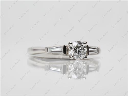 Platinum 0.47 Round cut Diamond Ring With Side Stones