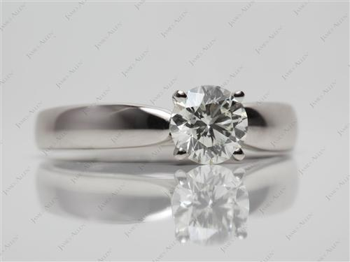 Platinum 0.90 Round cut Engagement Rings