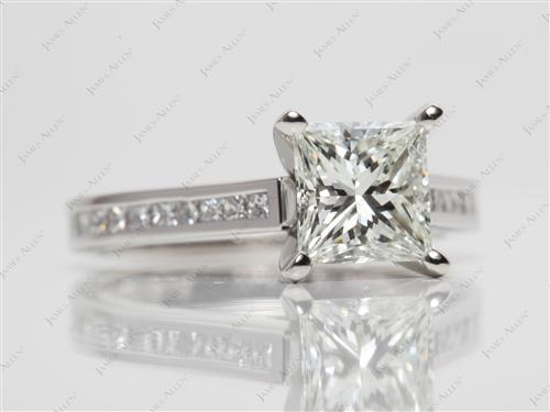 Platinum 1.53 Princess cut Channel Set Diamond Ring
