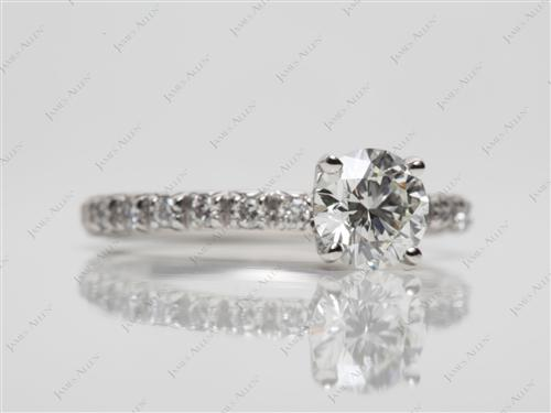 Platinum 0.80 Round cut Pave Rings