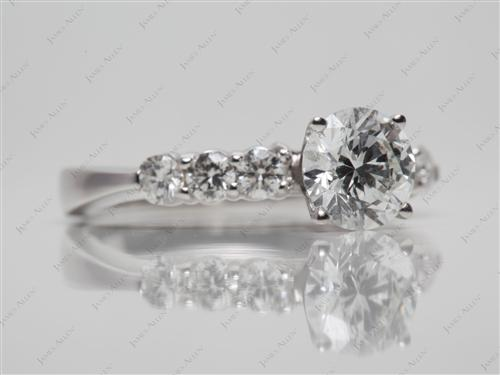 White Gold 1.05 Round cut Diamond Ring