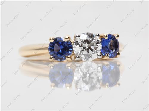Gold 0.56 Round cut Gem Stone Rings