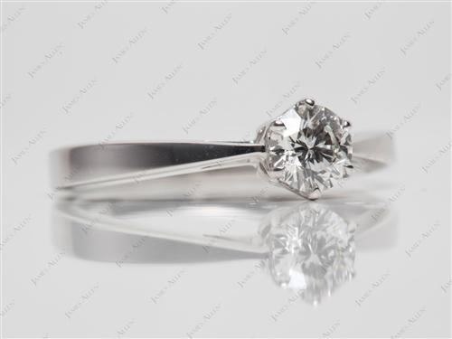 White Gold 0.45 Round cut Diamond Solitaire Ring Settings