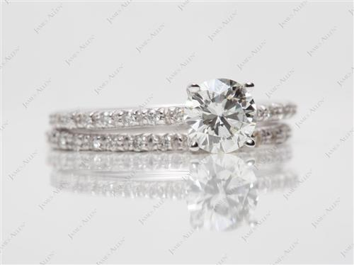 White Gold 0.80 Round cut Platinum Wedding Sets